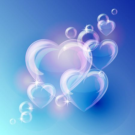 Romantic background with bubble hearts shapes on blue background. Vector illustration