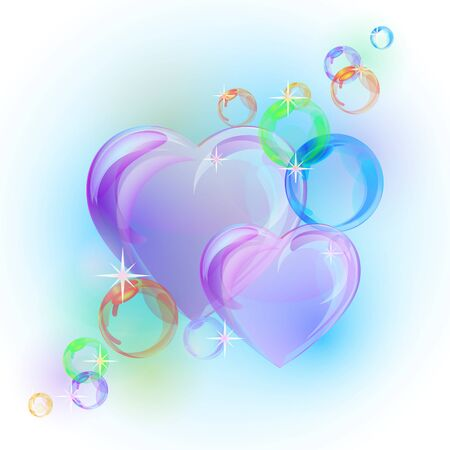 Romantic background with colorful bubble hearts shapes. Vector illustration
