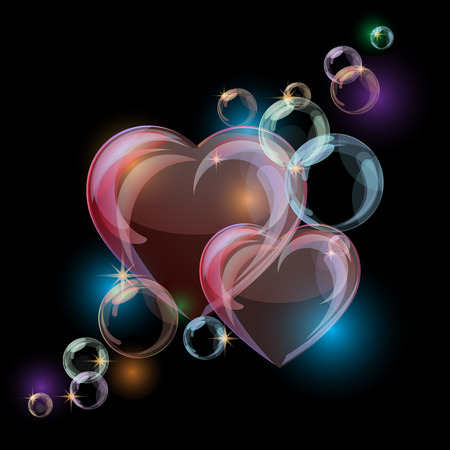 Romantic background with colorful bubble hearts shapes on black background. Vector illustration
