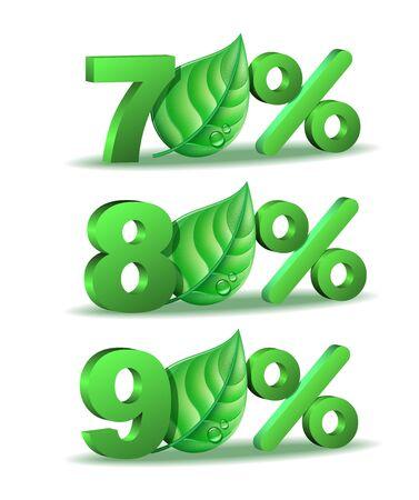 ochenta: Setenta, ochenta y noventa por ciento de descuento icono de primavera con la hoja verde