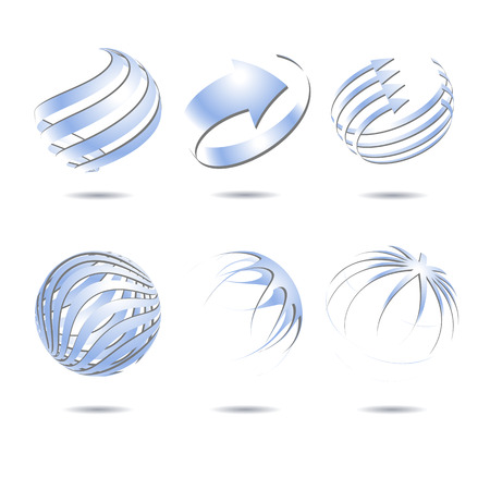 blue sphere: Set of 3d abstract vector light blue sphere element