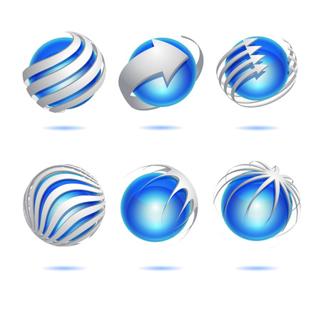 Set of 3d abstract vector blue sphere element Vector