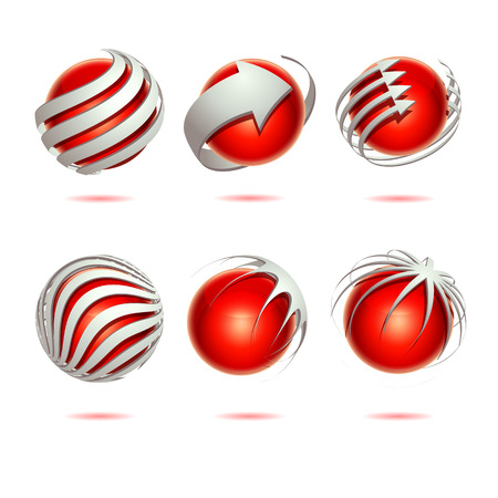 red sphere: Set of 3d abstract vector red sphere element Illustration