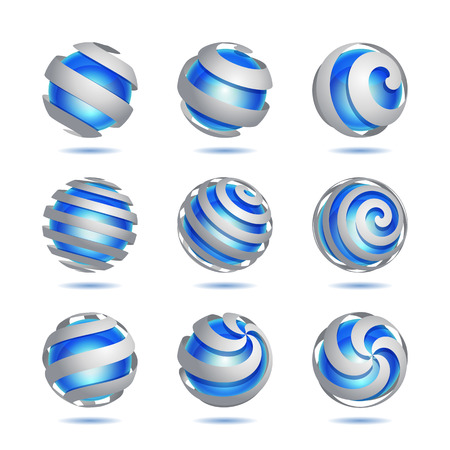 blue sphere: Set of 3d abstract vector blue sphere element