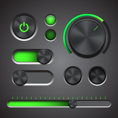 Set of the detailed UI elements with knob, switches and slider in metallic style. Vector illustration