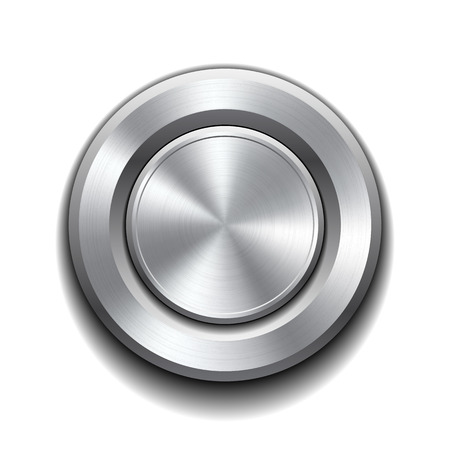 Realistic metal button with circular processing. Vector illustration