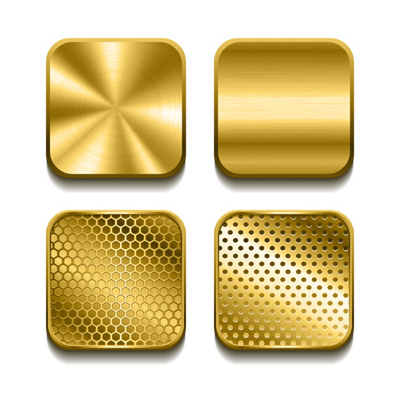 Apps metal golden buttons set. Vector illustration Stock Illustratie