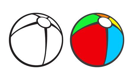 pelota caricatura: Pelota de playa de juguete para colorear aislado en blanco. Ilustración vectorial