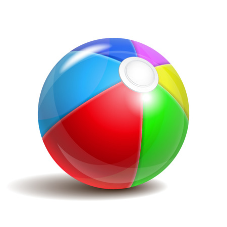 inflate: Colorful beach ball isolated on a white background. Symbol of summer fun at the pool or seaside.