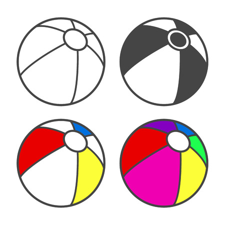 book isolated: Toy beach ball  for coloring book isolated on white. Vector illustration Illustration