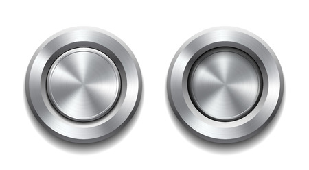 brushed aluminum: Two realistic metal buttons with circular processing showing push in and push out positions. Vector illustration Illustration