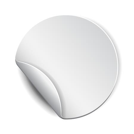 sticker vector: Blank, white round promotional sticker.  Vector illustration Illustration