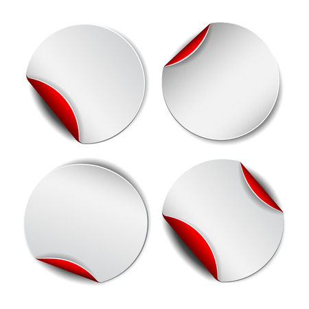 backside: Set of white round promotional stickers with red backside.  Vector illustration