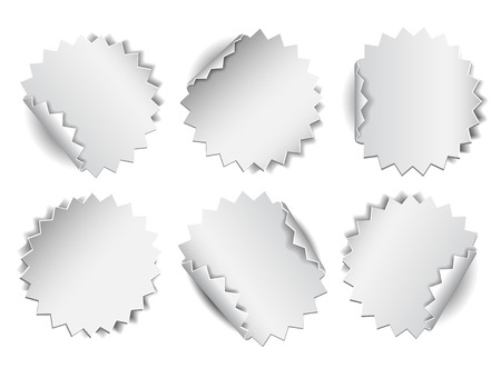 peels: Set of white paper stickers on white background. Vector illustration