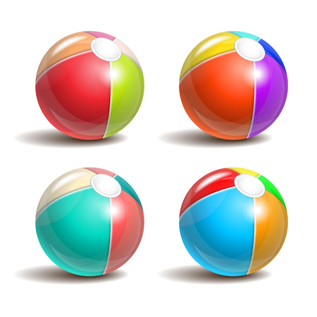 large ball: Set of Beach balls isolated on a white background. Symbol of summer fun at the pool or seaside. Vector illustration