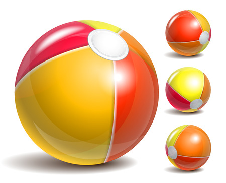 pool symbol: Beach balls in different positions isolated on a white background. Symbol of summer fun at the pool or seaside. Vector illustration Illustration