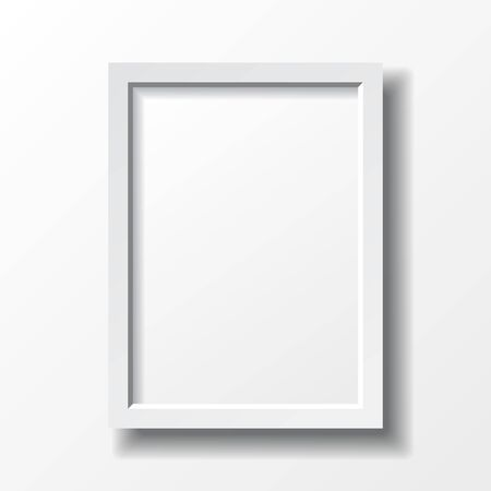 design frame: White vertical frame with realistic shadows. Vector illustration.
