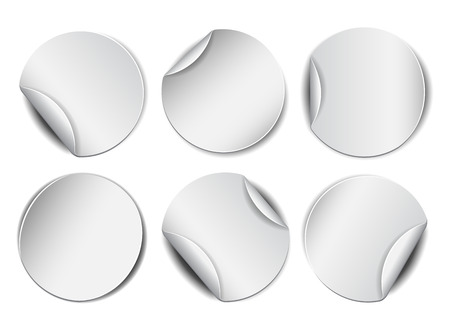 peel: Set of white round promotional stickers.  Vector illustration