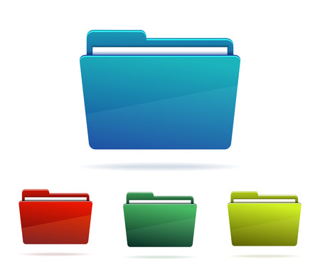 filing documents: Set of Folders with papers. Vector illustration. Illustration
