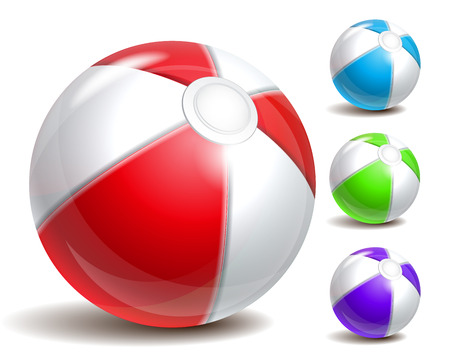 inflatable ball: Colorful beach ball isolated on a white background. Symbol of summer fun at the pool or seaside.