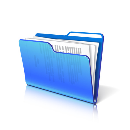 Blue transparent folder with papers. Document icon. Vector illustration. Ilustracja