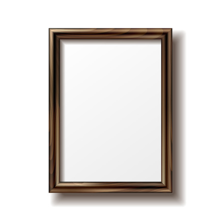 Wooden rectangular photo frame with shadow. Vector illustration