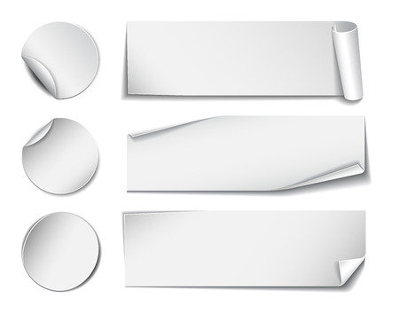 rectangle: Set of white rectangular and round promotional paper stickers on white background. Vector illustration