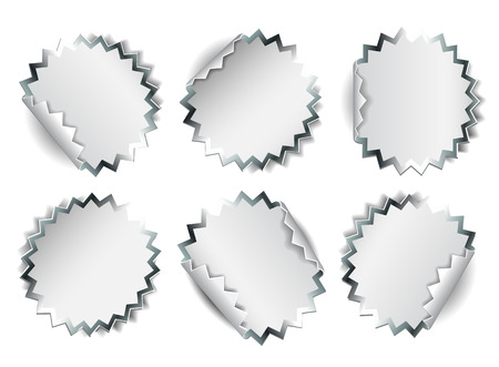 peel off: Set of white round promotional stickers with silver borders.  Vector illustration