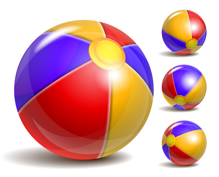inflar: Beach balls in different positions isolated on a white background. Symbol of summer fun at the pool or seaside.