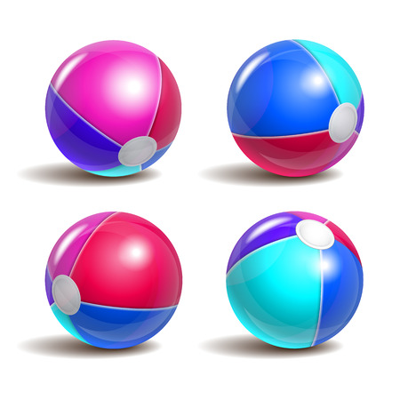 blue ball: Beach balls in different positions isolated on a white background. Symbol of summer fun at the pool or seaside.