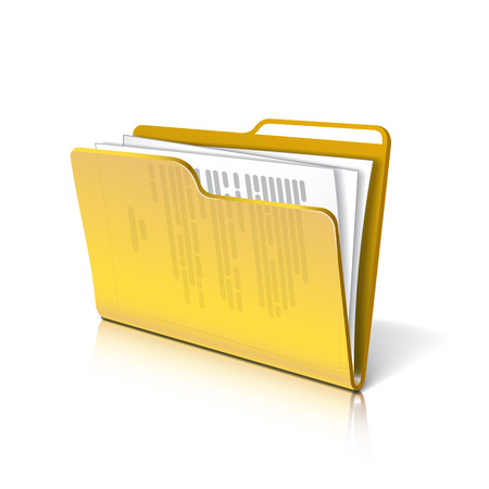 filing documents: Yellow transparent folder with papers. Document icon.