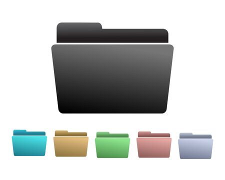 filing documents: Set of colorful Folder Icons.
