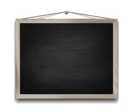 Black chalkboard in wooden frame. Back to school background vector illustration Vettoriali