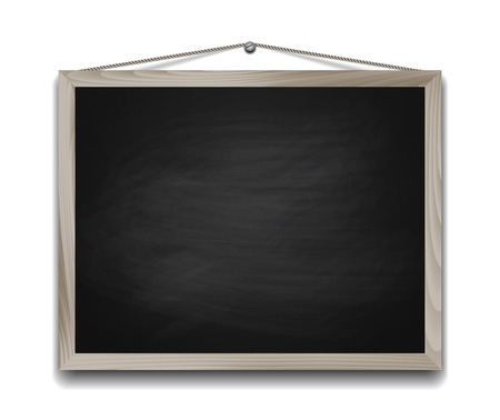 Black chalkboard in wooden frame. Back to school background vector illustration Stock Illustratie