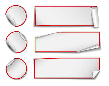 wrapped corner: Set of white rectangular and round promotional paper stickers on white background.  Illustration