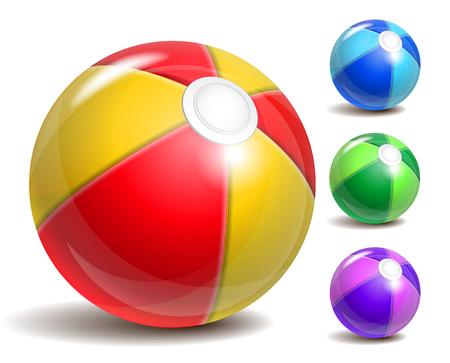 Bunte Strand Ball isoliert auf einem weißen Hintergrund. Symbol der Sommerspaß am Pool oder am Meer.