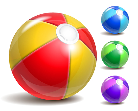 beach toys: Colorful beach ball isolated on a white background. Symbol of summer fun at the pool or seaside.
