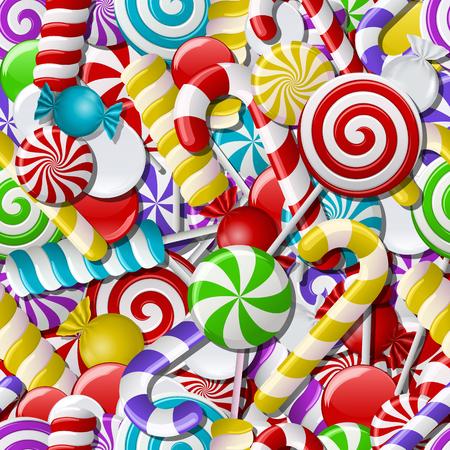 Fondo con diferentes caramelos de colores. Patrón transparente. Ilustración vectorial Vectores