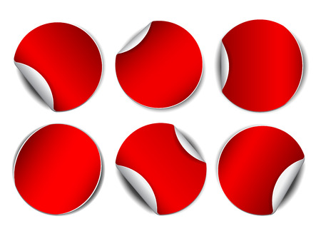 peel: Set of red round promotional stickers.  Vector illustration