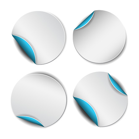 peel off: Set of white round promotional stickers with blue backside.  Vector illustration Illustration