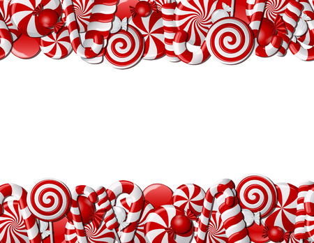 Frame made of red and white candies. Seamless pattern Illustration