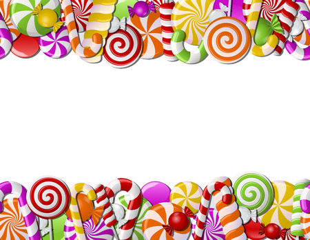 Frame made of colorful candies. Seamless pattern