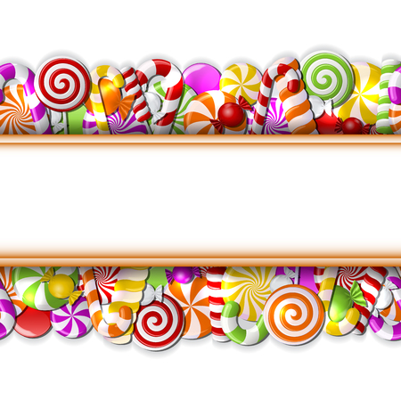 sugar cane: Sweet banner with colorful candies. Seamless pattern. Vector illustration