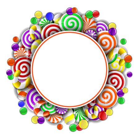 candy cane background: Sweet frame with colorful candies. Vector illustration Illustration