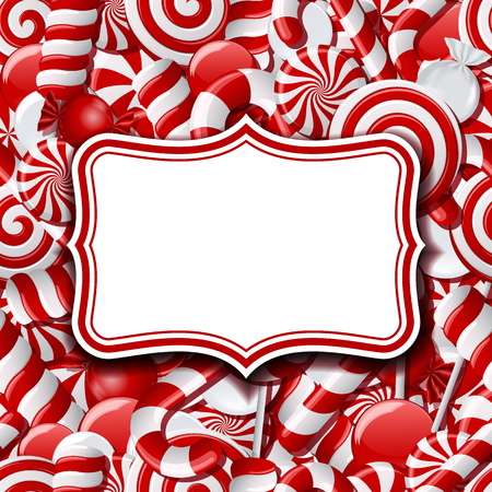 Frame labels on sweet background with different red and white candies. Vector illustration