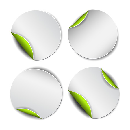 peel off: Set of white round promotional stickers with green backside.  Vector illustration