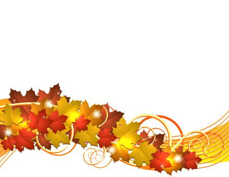Flying autumn leaves. illustration on white background