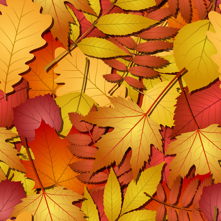 red leaves: seamless with red and yellow autumn leaves.