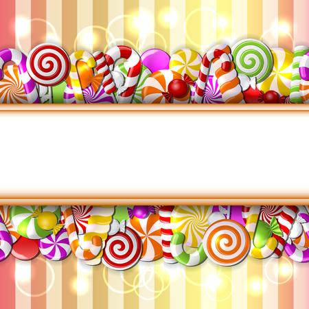 golosinas: caramelos de colores. Patrón transparente. Vectores
