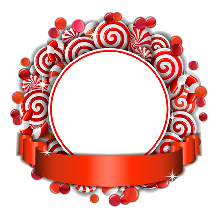 Sweet frame of red and white candies with red ribbon.